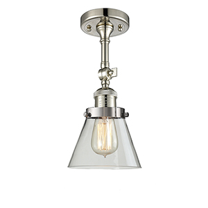 Small Cone Polished Nickel Six-Inch LED Semi Flush Mount with Clear Cone Glass