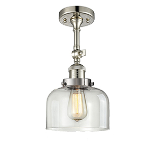 Large Bell Polished Nickel 14-Inch LED Semi Flush Mount with Clear Dome Glass