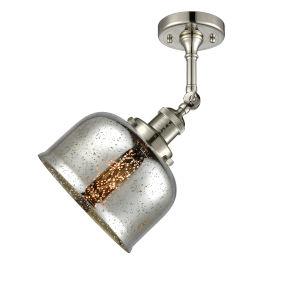 Large Bell Polished Nickel LED Semi Flush Mount