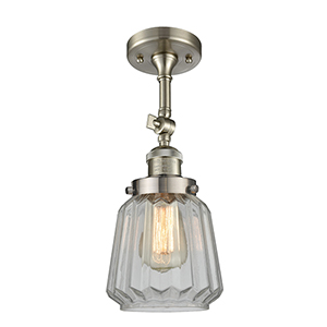 Chatham Brushed Satin Nickel 16-Inch LED Semi Flush Mount with Clear Fluted Novelty Glass