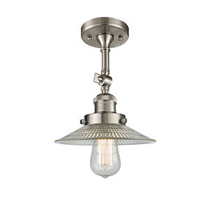 Halophane Brushed Satin Nickel 11-Inch One-Light Semi Flush Mount with Halophane Cone Glass
