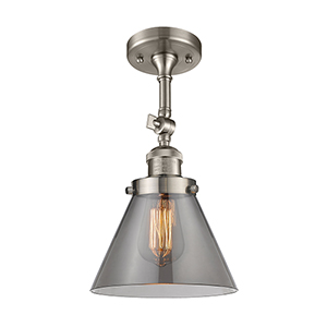 Large Cone Brushed Satin Nickel 14-Inch LED Semi Flush Mount with Smoked Cone Glass