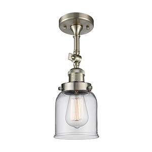 Small Bell Brushed Satin Nickel 14-Inch One-Light Semi Flush Mount with Clear Bell Glass