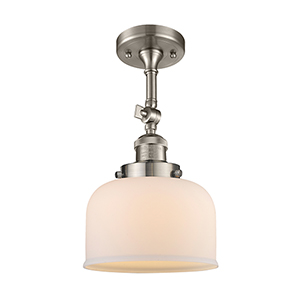 Large Bell Brushed Satin Nickel 14-Inch LED Semi Flush Mount with Matte White Cased Dome Glass