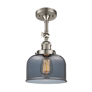 Large Bell Brushed Satin Nickel 14-Inch LED Semi Flush Mount with Smoked Dome Glass