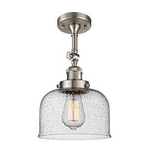 Large Bell Brushed Satin Nickel 14-Inch LED Semi Flush Mount with Seedy Dome Glass