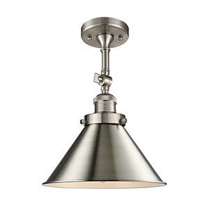 Briarcliff Brushed Satin Nickel 13-Inch One-Light Semi Flush Mount