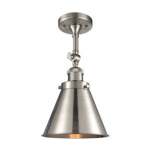 Franklin Restoration Brushed Satin Nickel 16-Inch One-Light Semi-Flush Mount with Appalachian Brushed Satin Nickel Metal