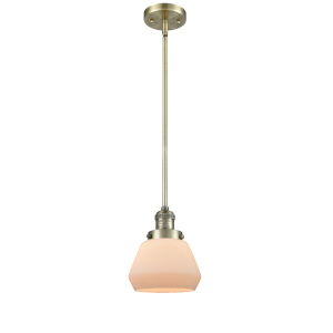 Fulton Antique Brass 60W One-Light Hang Straight Swivel Mini Pendant with Matte White Cased Glass