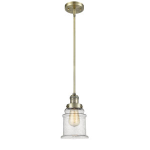 Canton Antique Brass LED Hang Straight Swivel Mini Pendant with Seedy Glass