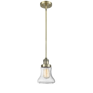 Bellmont Antique Brass Seven-Inch LED Mini Pendant with Seedy Glass