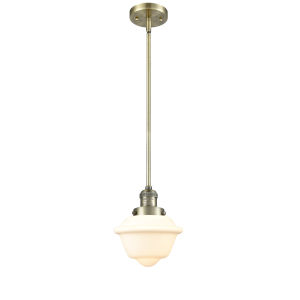Small Oxford Antique Brass 60W One-Light Hang Straight Swivel Mini Pendant with Matte White Cased Glass
