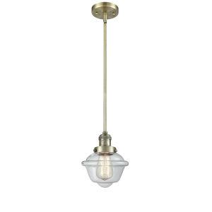 Small Oxford Antique Brass One-Light Mini Pendant