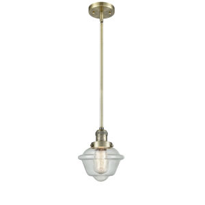 Small Oxford Antique Brass One-Light Hang Straight Swivel Mini Pendant with Seedy Glass