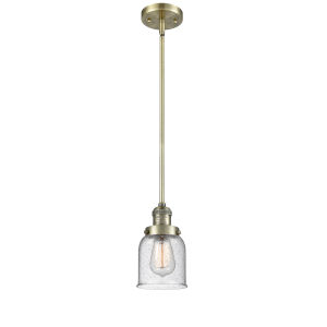 Small Bell Antique Brass One-Light Hang Straight Swivel Mini Pendant with Seedy Glass