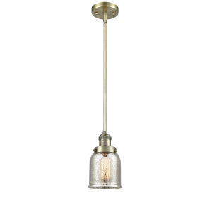 Small Bell Antique Brass One-Light Hang Straight Swivel Mini Pendant with Silver Plated Mercury Glass