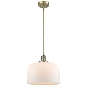 X-Large Bell Antique Brass 60W One-Light Hang Straight Swivel Pendant with Matte White Cased Glass