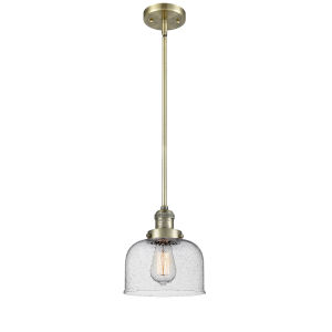 Large Bell Antique Brass One-Light Hang Straight Swivel Mini Pendant with Seedy Glass