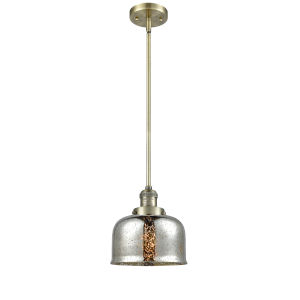 Large Bell Antique Brass One-Light Hang Straight Swivel Mini Pendant with Silver Plated Mercury Glass