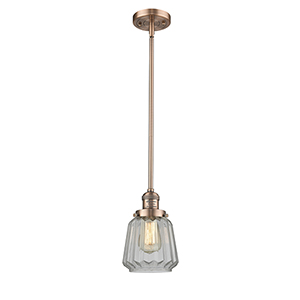 Chatham Antique Copper Eight-Inch LED Mini Pendant with Clear Fluted Novelty Glass