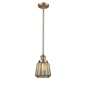 Chatham Antique Copper Eight-Inch LED Mini Pendant with Mercury Fluted Novelty Glass