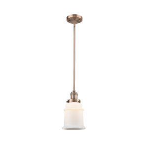 Canton Antique Copper LED Hang Straight Swivel Mini Pendant with Matte White Glass