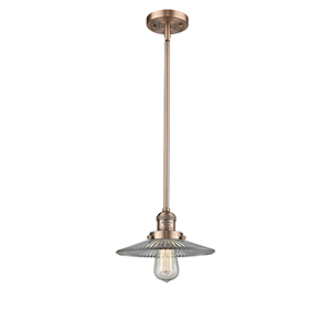 Halophane Antique Copper Eight-Inch LED Mini Pendant with Halophane Cone Glass