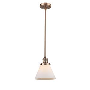 Large Cone Antique Copper 10-Inch LED Mini Pendant with Matte White Cased Cone Glass