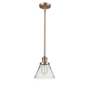 Large Cone Antique Copper 10-Inch LED Mini Pendant with Clear Cone Glass