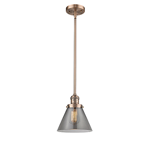 Large Cone Antique Copper 10-Inch LED Mini Pendant with Smoked Cone Glass