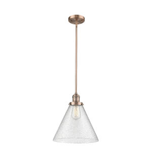 X-Large Cone Antique Copper LED Hang Straight Swivel Pendant with Seedy Glass