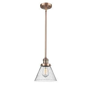 Large Cone Antique Copper 10-Inch LED Mini Pendant with Seedy Cone Glass