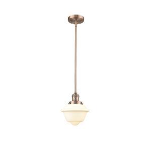 Small Oxford Antique Copper 60W One-Light Hang Straight Swivel Mini Pendant with Matte White Cased Glass