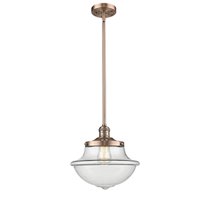 Oxford School House Antique Copper One-Light Pendant with Clear Bell Glass