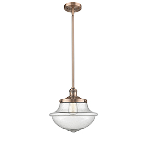 Oxford School House Antique Copper LED Pendant with Seedy Bell Glass