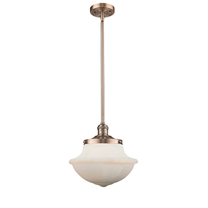 Oxford School House Antique Copper 11-Inch LED Pendant with White Bell Glass