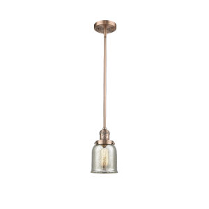 Small Bell Antique Copper One-Light Hang Straight Swivel Mini Pendant with Silver Plated Mercury Glass