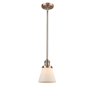 Small Cone Antique Copper Eight-Inch LED Mini Pendant with Matte White Cased Cone Glass