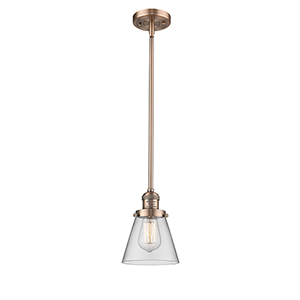 Small Cone Antique Copper Eight-Inch One-Light Mini Pendant with Clear Cone Glass