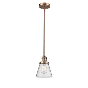 Small Cone Antique Copper Eight-Inch LED Mini Pendant with Seedy Cone Glass