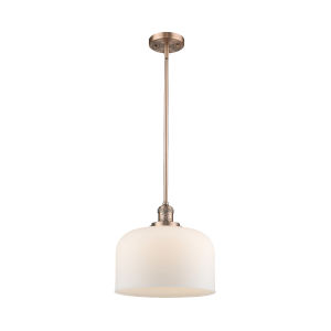 X-Large Bell Antique Copper 60W One-Light Hang Straight Swivel Pendant with Matte White Cased Glass
