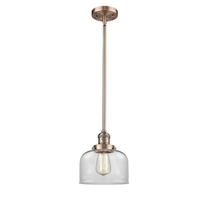 Large Bell Antique Copper 10-Inch LED Mini Pendant with Clear Dome Glass