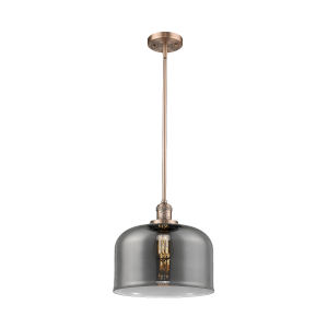 X-Large Bell Antique Copper One-Light Hang Straight Swivel Pendant