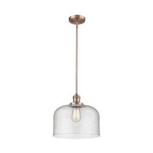 X-Large Bell Antique Copper LED Hang Straight Swivel Pendant with Seedy Glass