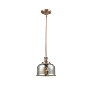 Large Bell Antique Copper One-Light Hang Straight Swivel Mini Pendant with Silver Plated Mercury Glass