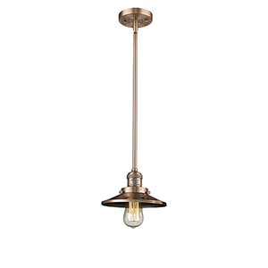 Railroad Antique Copper Eight-Inch LED Mini Pendant