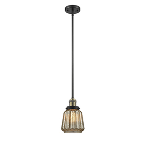 Chatham Black Antique Brass Eight-Inch LED Mini Pendant with Mercury Fluted Novelty Glass