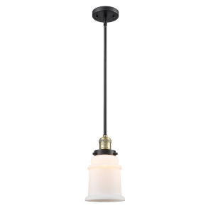 Canton Black Antique Brass LED Hang Straight Swivel Mini Pendant with Matte White Glass