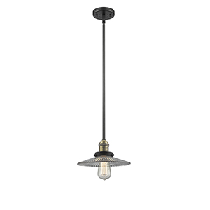 Halophane Black Antique Brass Eight-Inch LED Mini Pendant with Halophane Cone Glass