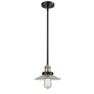 Halophane Black Antique Brass Eight-Inch One-Light Mini Pendant with Halophane Cone Glass